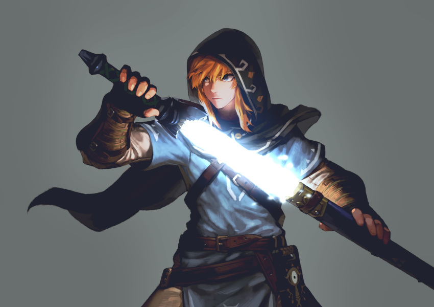 1boy absurdres blonde_hair blue_eyes highres hood jun_(seojh1029) link male_focus master_sword nintendo solo sword the_legend_of_zelda the_legend_of_zelda:_breath_of_the_wild weapon