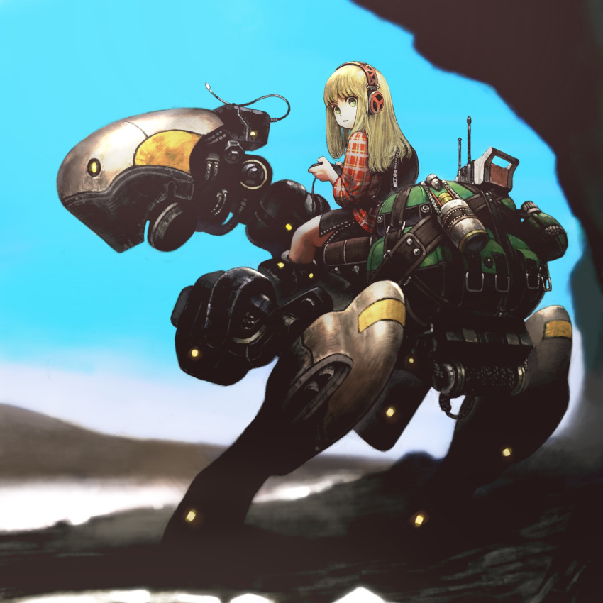 1girl blonde_hair blue_eyes female game_controller headphones highres jun_(seojh1029) long_hair original outdoors parted_lips riding robot