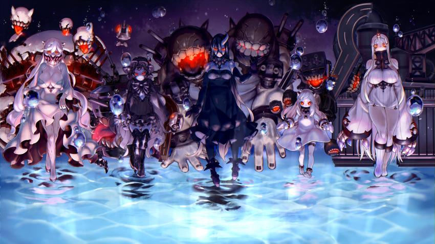 5girls ahoge anklet barefoot battleship_water_oni black_hair boots breasts bubble claws cleavage cleavage_cutout dress elbow_gloves enemy_aircraft_(kantai_collection) fingernails fishnet_legwear fishnets gloves glowing glowing_eyes gothic_lolita hair_between_eyes highres horn horns isolated_island_oni jewelry kantai_collection kareha_(sakura-turibito) large_breasts lolita_fashion long_hair looking_at_viewer machinery midway_hime mittens monster multiple_girls northern_ocean_hime open_mouth pale_skin panties red_eyes seaport_hime sharp_fingernails shinkaisei-kan short_dress short_eyebrows skirt skirt_lift sleeves_past_wrists thigh_boots thighhighs tongue tongue_out turret underwear veins walking walking_on_liquid white_hair