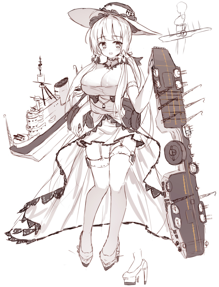 1girl :d absurdres azur_lane bangs bare_shoulders blush breasts cleavage dress elbow_gloves eyebrows_visible_through_hair flight_deck garter_straps gloves greyscale hat high_heels highres illustrious_(azur_lane) large_breasts long_hair monochrome open_mouth shoes sketch smile solo standing strapless strapless_dress tandohark thighhighs very_long_hair white_background