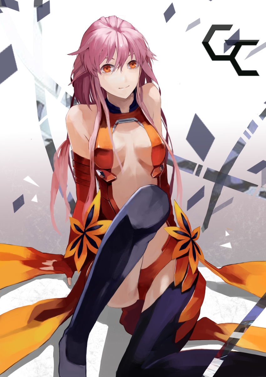 1girl absurdres bare_shoulders black_legwear breasts center_opening cleavage detached_sleeves elbow_gloves fingerless_gloves gloves guilty_crown hair_ornament hairclip highres insoom long_hair looking_at_viewer navel pink_hair red_eyes solo thighhighs twintails yuzuriha_inori