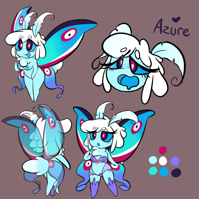 <3 <3_eyes ahegao arthropod azure_the_moth breasts cute featureless_feet female geekoflimn grey_background insect invalid_tag looking_pleasured micro moth moth_furry nude simple_background