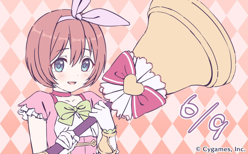 argyle argyle_background bell blush bow bowl_cut brown_hair choker company_name eyebrows_visible_through_hair gloves green_bow green_eyes hair_ribbon hairband heart highres holding kuribayashi_kurumi looking_at_viewer official_art open_mouth orange_background pink_ribbon princess_connect! princess_connect!_re:dive red_bow ribbon short_hair short_sleeves smile solo tears upper_body white_gloves