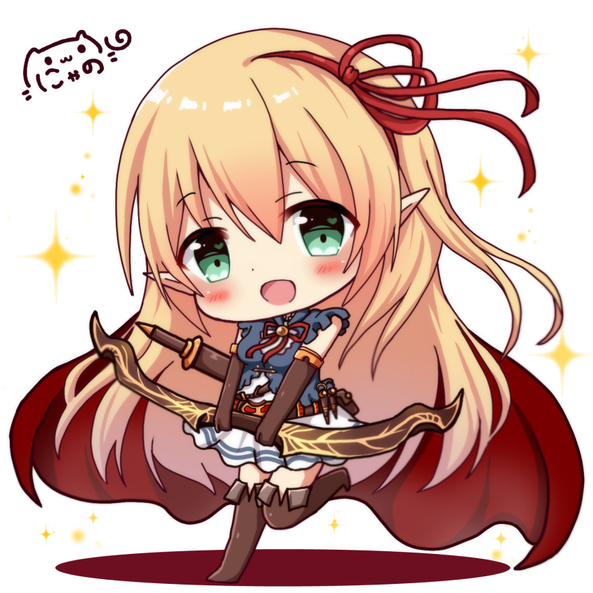 1girl :d bangs blonde_hair blue_shirt blush bow_(weapon) brown_footwear brown_gloves brown_legwear cape character_request chibi commentary_request elbow_gloves eyebrows_visible_through_hair gloves green_eyes hair_between_eyes hair_ribbon head_tilt heart heart_in_eye highres holding holding_bow_(weapon) holding_weapon long_hair looking_at_viewer nyano21 open_mouth pleated_skirt pointy_ears princess_connect! princess_connect!_re:dive red_cape red_ribbon ribbon shirt signature skirt sleeveless sleeveless_shirt smile solo sparkle standing standing_on_one_leg symbol_in_eye thighhighs very_long_hair weapon white_background white_skirt