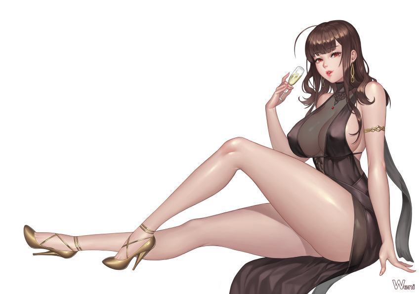 1girl armlet bare_legs bare_shoulders black_dress breasts brown_hair champagne_flute cup dress drinking_glass dsr-50_(girls_frontline) earrings erect_nipples fingernails from_side girls_frontline high_heels highres holding huge_breasts jewelry karmiel knee_up legs lipstick long_hair long_legs looking_at_viewer makeup necklace parted_lips red_eyes red_lipstick see-through signature simple_background sitting solo thighs white_background yellow_footwear