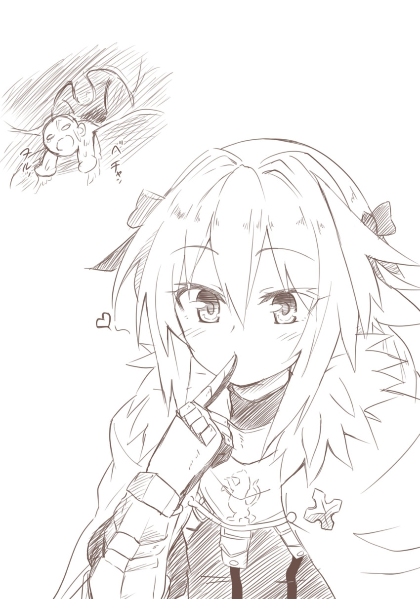 astolfo_(fate) fate/apocrypha fate_(series) giant heart male_focus monochrome niwaka_potato trap uvula vore
