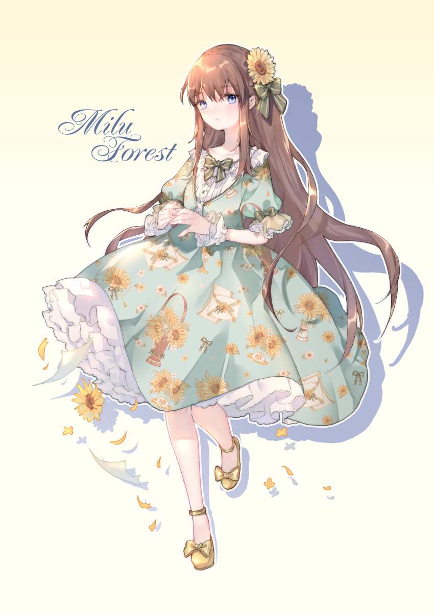 1girl absurdres ankle_strap aqua_dress bangs blue_eyes bow bowtie brown_hair dress floral_print flower frilled_sleeves frills full_body green_ribbon hair_flower hair_ornament hair_ribbon hands_together highres lolita_fashion long_hair looking_at_viewer original outline paper petals petticoat print_dress ribbon shadow short_sleeves solo standing standing_on_one_leg striped striped_legwear striped_ribbon sunflower white_outline wrist_cuffs yellow_background yellow_footwear yuzhi