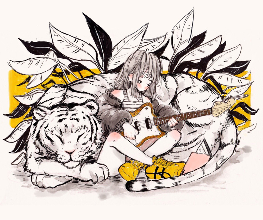 1girl animal bangs bare_shoulders blush book crisalys earrings electric_guitar grey_hair guitar indian_style instrument jacket jewelry leaf limited_palette long_hair long_sleeves looking_at_book music off_shoulder original plant playing_instrument shoes simple_background sitting sleeping sneakers solo tank_top tiger white_background white_tiger yellow_footwear
