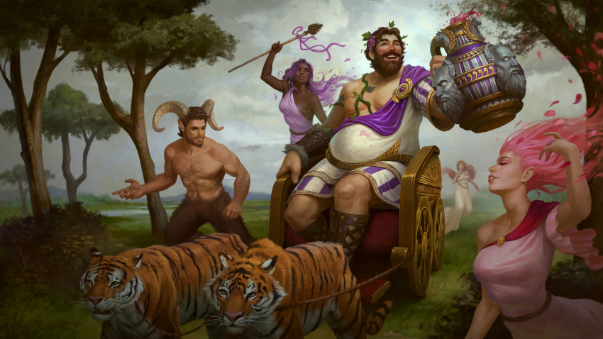 1boy alcohol alternate_costume bacchus_(smite) beard brown_hair dark_skin drink faceless faceless_female faceless_male facial_hair fat fat_man hair_ornament highres horns jon_neimeister leaf leaf_hair_ornament male_focus nymph official_art open_mouth petals pink_hair plant purple_hair satyr shirtless sitting sky smite solo staff teeth tiger tree vines wine