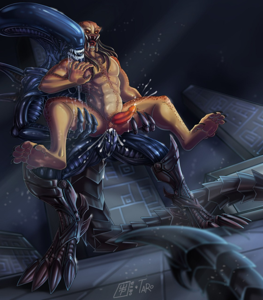 abdominal_bulge alien alien_(franchise) anal anal_penetration anthro claws cum cum_in_ass cum_inside cumshot cybernetics digital_media_(artwork) drooling duo ejaculation enzozone erection forced forced_orgasm machine male male/male male_penetrating muscular neverneverland nightcrauzer not_furry nude open_mouth orgasm pecs penetration penis precum predator predator/prey predator_(franchise) prey rape saliva sex size_difference xenomorph yautja zaorath