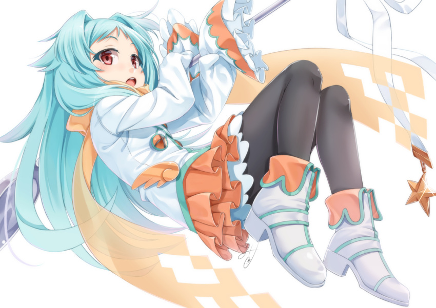 1girl :o bangs black_legwear blue_hair boots commentary_request hair_intakes high_heel_boots high_heels holding izumo_miyako jacket layered_skirt long_hair long_sleeves miri_(ago550421) open_mouth orange_scarf orange_skirt oversized_object pantyhose parted_bangs pleated_skirt princess_connect! princess_connect!_re:dive red_eyes round_teeth scarf see-through signature simple_background skirt sleeves_past_fingers sleeves_past_wrists solo star teeth upper_teeth very_long_hair white_background white_footwear white_jacket wide_sleeves