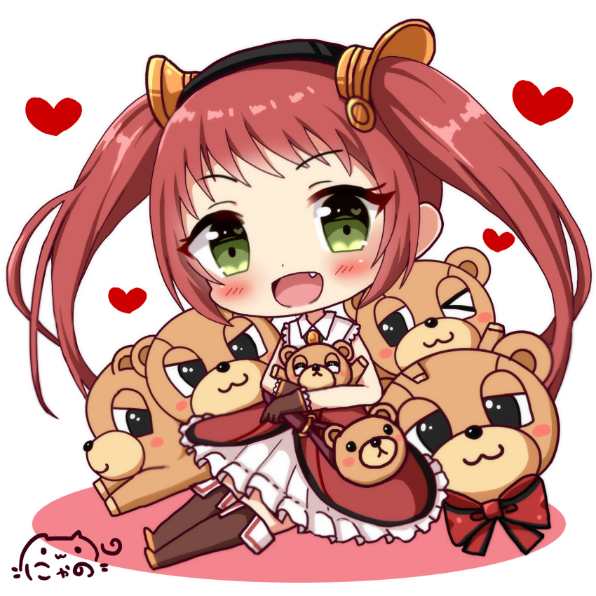 >_o :3 :d animal_bag bag bangs bear_bag blush boots brown_footwear brown_gloves brown_legwear chibi closed_mouth commentary dress dutch_angle eyebrows_visible_through_hair fang gloves green_eyes hair_ornament handbag heart heart_in_eye highres looking_at_viewer nyano21 object_hug one_eye_closed open_mouth princess_connect! princess_connect!_re:dive red_dress red_hair shoulder_bag sitting sleeveless sleeveless_dress smile solo stuffed_animal stuffed_toy symbol_in_eye teddy_bear themed_object thigh_boots thighhighs twintails white_background