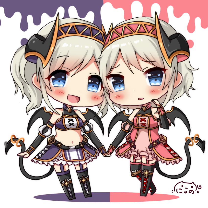 2girls :d arm_warmers bangs bare_shoulders black_footwear black_legwear black_wings blue_eyes blush boots breasts chibi commentary_request demon_girl demon_horns demon_tail demon_wings detached_sleeves dress eyebrows_visible_through_hair garter_straps grey_hair hair_between_eyes hairband halter_dress hand_up highres horns kazemiya_akari kazemiya_yori knee_boots long_hair looking_at_viewer medium_breasts multiple_girls nyano21 open_mouth parted_lips pink_dress princess_connect! princess_connect!_re:dive puffy_short_sleeves puffy_sleeves purple_skirt short_sleeves siblings signature skirt sleeveless sleeveless_dress smile standing standing_on_one_leg tail tail_ring thighhighs thighhighs_under_boots twins white_background wings