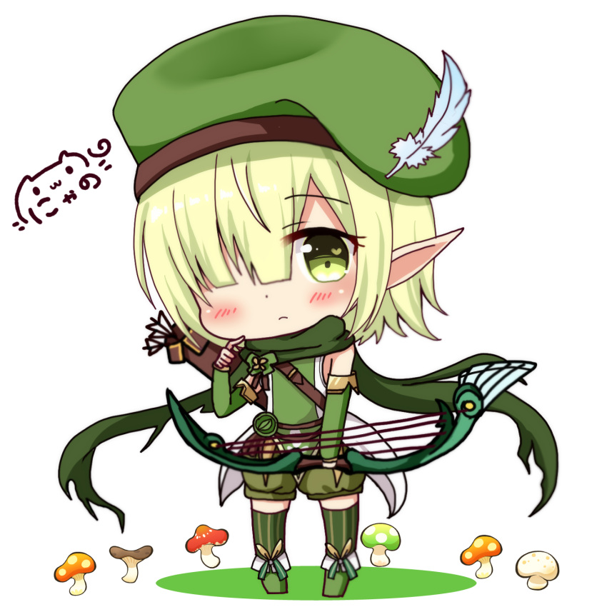 1041_(toshikazu) 1girl arrow bangs beret blue_feathers blush boots bow_(weapon) chibi closed_mouth commentary_request detached_sleeves eyebrows_visible_through_hair feathers futaba_aoi_(princess_connect!) green_eyes green_footwear green_hair green_hat green_legwear green_scarf green_shirt green_shorts hair_over_one_eye hand_up hat hat_feather heart heart_in_eye highres holding holding_bow_(weapon) holding_weapon long_sleeves looking_at_viewer mushroom nyano21 princess_connect! princess_connect!_re:dive puffy_shorts quiver scarf shirt short_hair short_shorts shorts signature sleeveless sleeveless_shirt solo striped striped_legwear symbol_in_eye thighhighs thighhighs_under_boots vertical-striped_legwear vertical_stripes weapon white_background