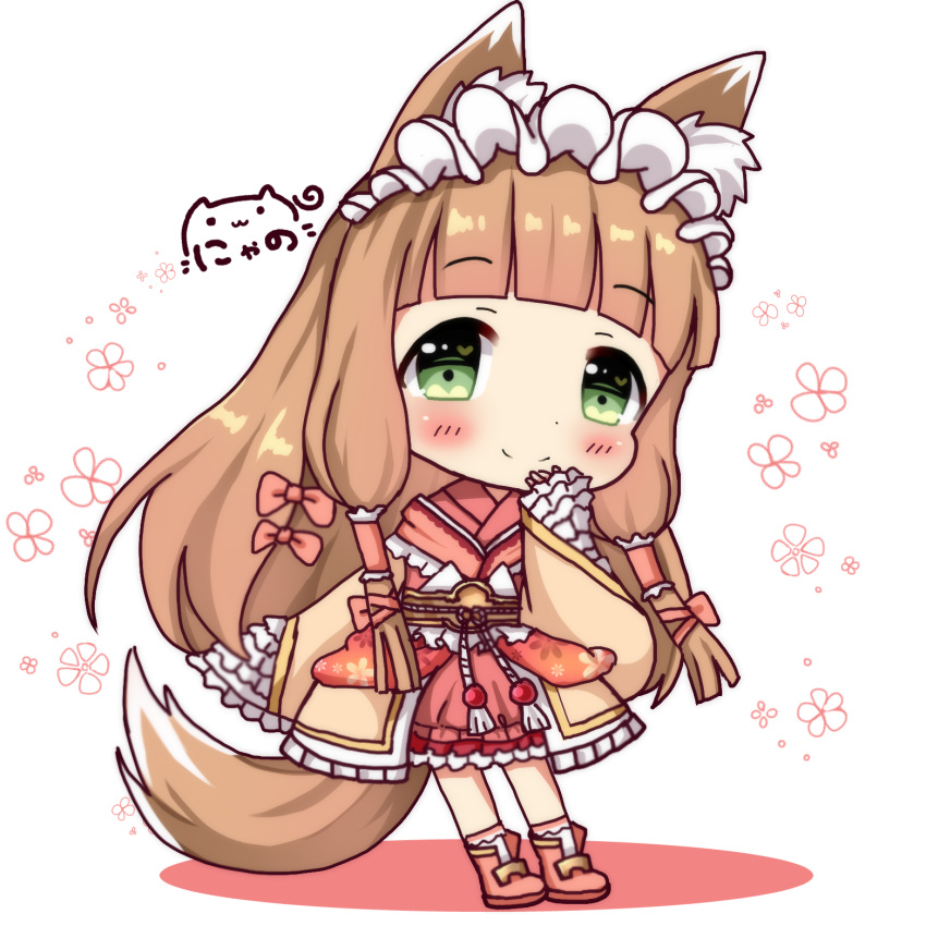 1girl animal_ears bangs blunt_bangs blush boots character_request closed_mouth commentary_request eyebrows_visible_through_hair fox_ears fox_girl fox_tail green_eyes hair_ornament heart heart_in_mouth highres japanese_clothes kimono light_brown_hair long_hair long_sleeves nyano21 pink_footwear princess_connect! princess_connect!_re:dive red_kimono signature sleeves_past_wrists smile socks solo tail very_long_hair white_background white_legwear wide_sleeves
