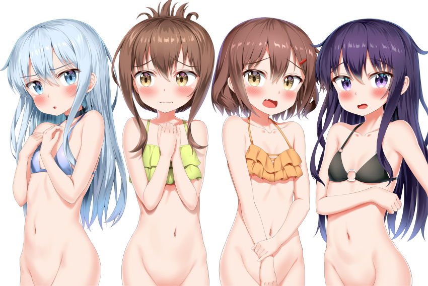4girls absurdres akatsuki_(kantai_collection) bikini black_bikini blue_bikini blue_eyes blush brown_eyes brown_hair commentary_request fang folded_ponytail green_bikini groin hair_between_eyes hair_ornament hairclip hibiki_(kantai_collection) highres ikazuchi_(kantai_collection) inazuma_(kantai_collection) kantai_collection long_hair multiple_girls navel nedia_(nedia_region) o-ring o-ring_bikini open_mouth orange_bikini purple_eyes purple_hair short_hair silver_hair simple_background swimsuit wavy_mouth white_background