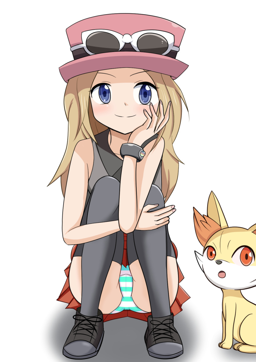 1girl aqua_panties bare_shoulders black_footwear black_legwear black_shirt blonde_hair blue_eyes blush bracelet cameltoe eyewear_on_headwear female fennekin full_body gen_6_pokemon hand_on_own_face hand_up hat highres jewelry kaimu_(qewcon) knees_up long_hair looking_at_viewer open_mouth orange_eyes panties pantyshot pantyshot_(sitting) pleated_skirt pokemon pokemon_(creature) pokemon_(game) pokemon_xy red_hat red_skirt serena_(pokemon) shirt shoes simple_background sitting skirt sleeveless sleeveless_shirt smile solo_focus striped striped_panties sunglasses thighhighs underwear upskirt white-framed_eyewear white_background