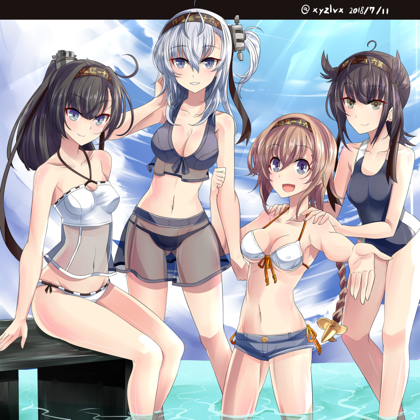 :d absurdres ahoge akizuki_(kantai_collection) bare_arms bare_shoulders bikini black_bikini black_hair black_headband black_swimsuit blue_eyes blue_shorts blue_sky breasts brown_hair casual_one-piece_swimsuit cleavage closed_eyes clothes_writing cloud cloudy_sky collarbone commentary_request dated day front-tie_bikini front-tie_top green_eyes grey_eyes groin hachimaki hair_ears hatsuzuki_(kantai_collection) headband hebitsukai-san high_ponytail highres kantai_collection letterboxed light_brown_hair long_hair medium_breasts multiple_girls navel one-piece_swimsuit one_side_up open_mouth outdoors outstretched_arm ponytail see-through short_shorts shorts silver_hair sitting sky smile standing suzutsuki_(kantai_collection) swimsuit teruzuki_(kantai_collection) twitter_username wading water white_bikini white_bikini_top