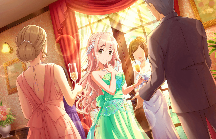 4girls artist_request bracelet brown_eyes cup dress drinking_glass earrings faceless faceless_female formal green_dress hair_ornament idolmaster idolmaster_cinderella_girls idolmaster_cinderella_girls_starlight_stage jewelry long_hair multiple_girls necklace official_art pink_hair saionji_kotoka solo_focus very_long_hair wine_glass