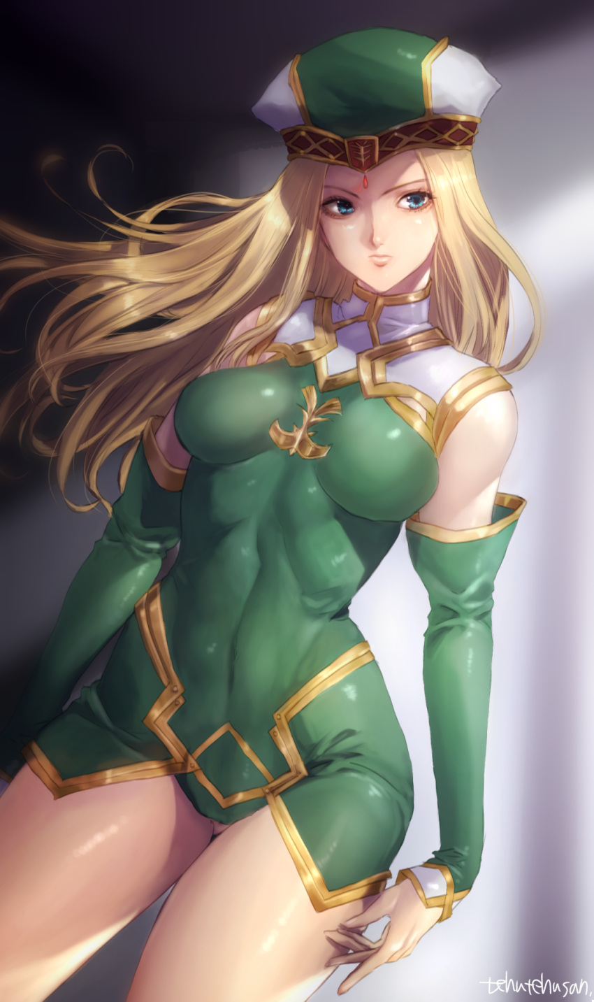 1girl artist_name blonde_hair blue_eyes breasts closed_mouth commentary_request covered_navel detached_sleeves dress erect_nipples freya_(valkyrie_profile) green_dress hat highres legs long_hair looking_to_the_side medium_breasts mellowd short_dress skin_tight thighs valkyrie_profile