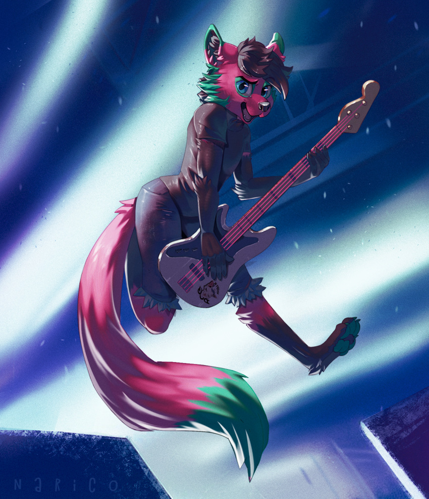 anthro canine clothed clothing electric_guitar guitar hair looking_at_viewer male mammal musical_instrument narico open_mouth pose solo