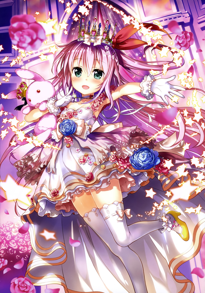 :d absurdres anklet armpits bare_shoulders blue_flower blue_rose bow_skirt bracelet breasts choker cleavage collarbone copyright_request crown dress eyebrows_visible_through_hair finger_to_cheek flower flower_request frilled_skirt frills fujima_takuya gem gloves green_eyes hair_between_eyes hair_flower hair_ornament hair_ribbon heart heart-shaped_gem heart_choker high-waist_skirt high_heels highres holding holding_stuffed_animal indoors jewelry layered_skirt looking_at_viewer mini_crown necklace official_art open_mouth outstretched_arm overskirt pearl_bracelet petals pink_flower pink_hair pink_lips pink_rose pink_skirt ponytail red_eyes red_ribbon ribbon rose scan skindentation skirt small_breasts smile solo standing standing_on_one_leg star strapless strapless_dress stuffed_animal stuffed_bunny stuffed_toy thighhighs tiara tongue white_bandeau white_choker white_frills white_gloves white_legwear white_ribbon white_skirt yellow_footwear