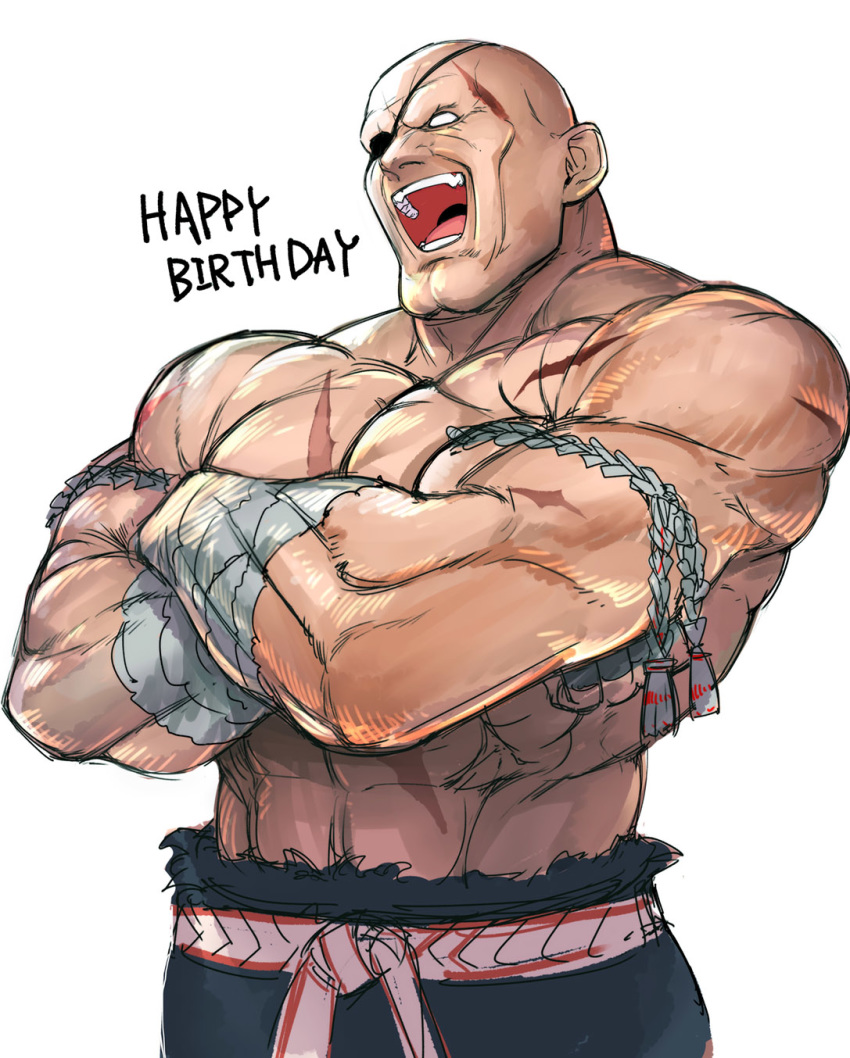 1boy abs bald commentary_request crossed_arms double_chin eyepatch hand_wraps happy_birthday headband highres laughing male_focus mongkhon muscle no_pupils open_mouth sagat scar shirtless solo street_fighter tetsu_(kimuchi) white_background