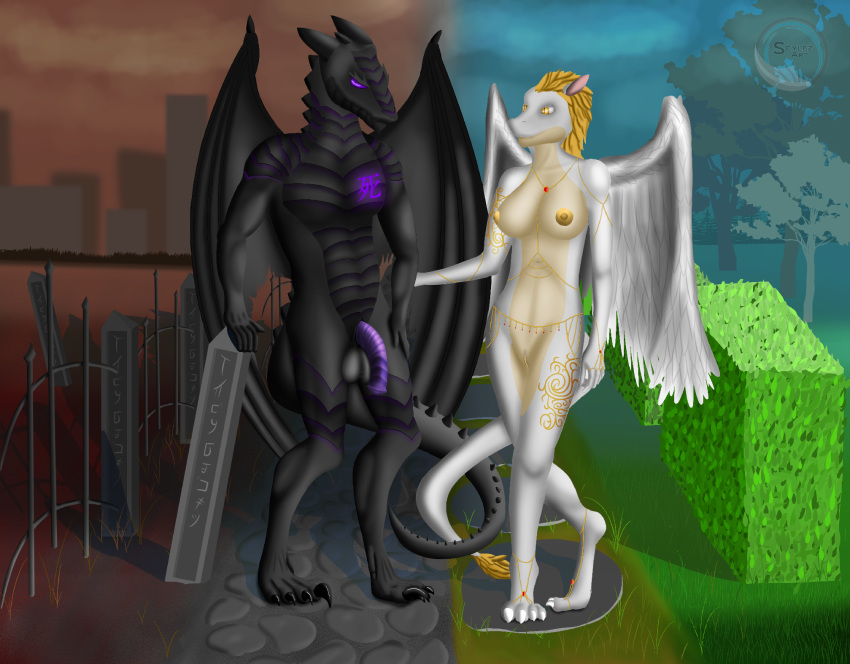 2018 anthro balls big_breasts breasts digital_media_(artwork) dragon duo feathers female male male/female nipples nude outside penis pussy scylez_art sky standing tree wings