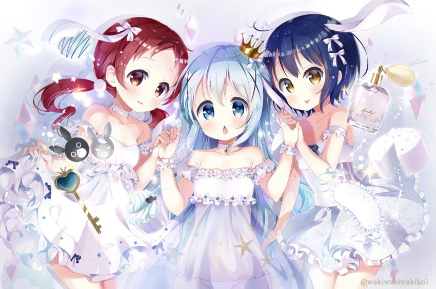3girls anko_(gochiusa) bangs blue_eyes blue_hair blush bow breasts brown_eyes chestnut_mouth chimame-tai commentary_request crown dress eyebrows_visible_through_hair frilled_dress frills girl_sandwich gochuumon_wa_usagi_desu_ka? hair_between_eyes hair_bow hair_ornament hand_holding heart jouga_maya kafuu_chino key long_hair looking_at_viewer low_twintails mini_crown multiple_girls natsu_megumi neki_(wakiko) panties parted_lips red_hair ribbon sandwiched see-through small_breasts smile strapless strapless_dress tippy_(gochiusa) twintails twitter_username underwear very_long_hair white_bow white_dress white_panties white_ribbon wild_geese