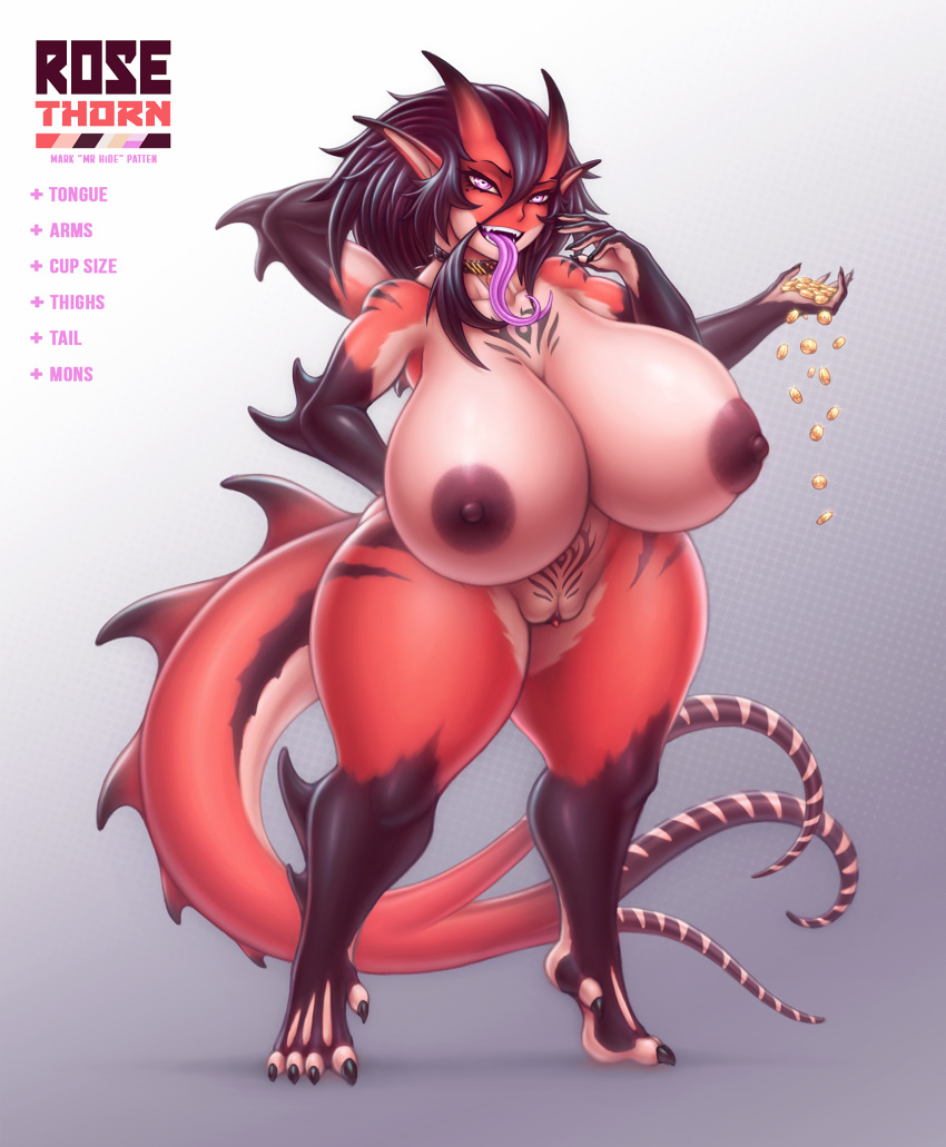 4_arms anthro big_breasts breasts dragon female hair horn humanoid looking_at_viewer mrhide multi_arm multi_limb nipples nude open_mouth purple_eyes pussy smile solo standing tongue