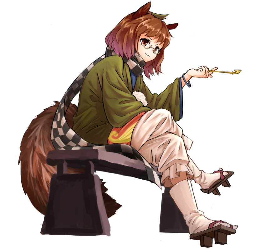 :3 animal_ears bench brown_eyes brown_hair crossed_legs full_body futatsuiwa_mamizou glasses highres looking_at_viewer nob1109 pipe raccoon_ears raccoon_tail sandals sitting solo tail touhou white_background