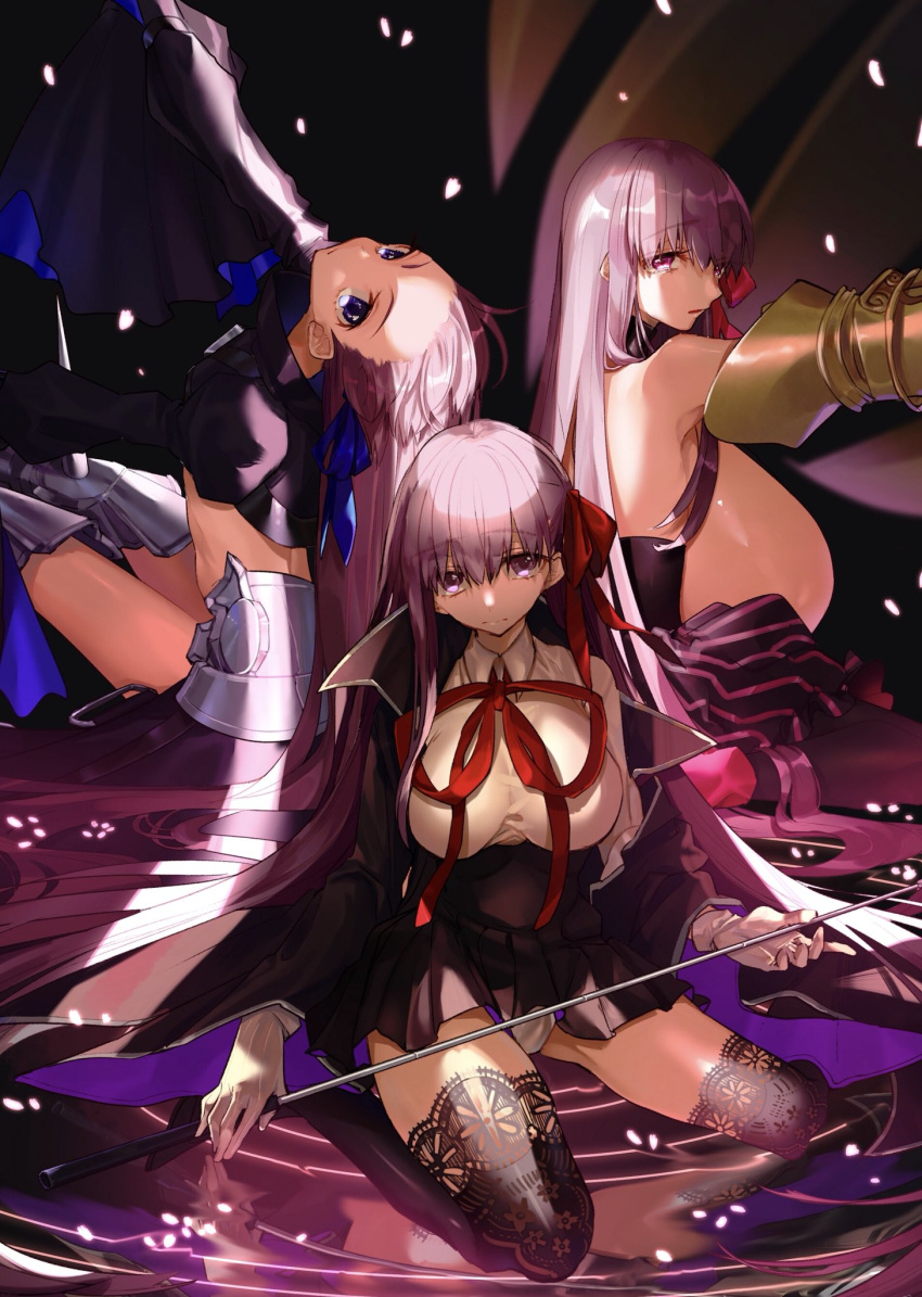 3girls armored_boots bangs bb_(fate/extra_ccc) black_coat black_legwear black_skirt blue_eyes blue_ribbon boots bow breasts coat fate/extra fate/extra_ccc fate_(series) frown gigantic_breasts gloves hair_bow hair_ribbon high-waist_skirt highres hino_hinako large_breasts long_hair long_sleeves looking_at_viewer meltlilith multiple_girls open_clothes open_coat passion_lip puffy_long_sleeves puffy_sleeves purple_eyes purple_hair red_bow red_ribbon ribbon shirt skirt sleeves_past_wrists thighhighs very_long_hair wand water white_gloves white_shirt wide_sleeves