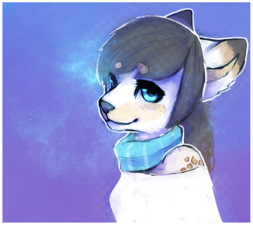 anthro canine clothed clothing female galaxymonster hair looking_at_viewer mammal scarf simple_background smile solo