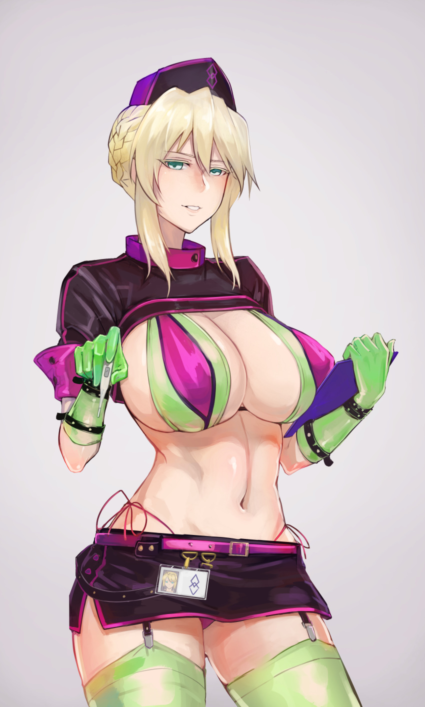 1girl absurdres artoria_pendragon_(all) artoria_pendragon_(lancer) bangs belt_buckle bikini black_hat black_skirt blonde_hair braid breasts buckle chinese_commentary cleavage clipboard commentary_request cosplay cowboy_shot eyebrows_visible_through_hair fate/grand_order fate_(series) florence_nightingale_(fate/grand_order) florence_nightingale_(fate/grand_order)_(cosplay) french_braid garter_straps gloves green_bikini green_eyes green_gloves green_legwear grey_background grin hair_between_eyes hair_bun half-closed_eyes hat highleg highleg_bikini highres holding holding_clipboard huge_breasts huitu_xigai id_card layered_bikini looking_at_viewer miniskirt navel nurse_cap parted_lips pink_belt purple_bikini purple_hat short_hair short_sleeves shrug_(clothing) side-tie_bikini sidelocks skirt smile solo standing stomach swimsuit thighhighs trick_or_treatment