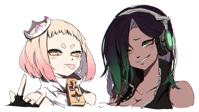 2girls :p \n/ asymmetrical_hair bangs bare_shoulders black_hair blonde_hair breasts cephalopod_eyes cleavage collarbone commentary_request crown dark_skin esu_(transc) fingerless_gloves gloves glowing green_eyes green_hair grin headphones high_collar hime_(splatoon) humanization iida_(splatoon) long_hair looking_at_viewer mole mole_under_mouth multicolored_hair multiple_girls orange_eyes pink_hair red_pupils short_hair simple_background smile splatoon_(series) splatoon_2 swept_bangs tongue tongue_out tsurime two-tone_hair unzipped white_background zipper zipper_pull_tab