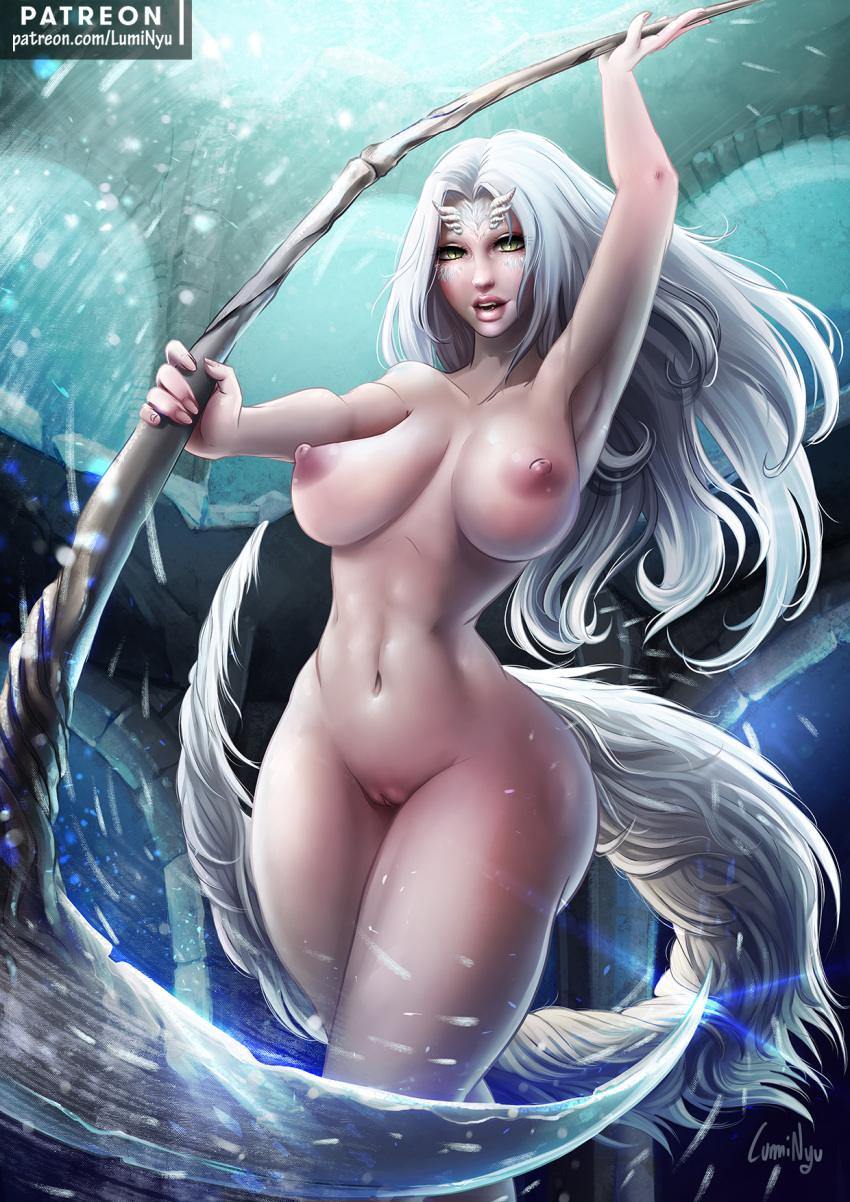 animal_humanoid breasts dark_souls dragon dragon_humanoid female fur hair humanoid hybrid long_hair looking_at_viewer luminyu mammal nipples nude priscilla_(dark_souls) pussy solo video_games white_fur white_hair