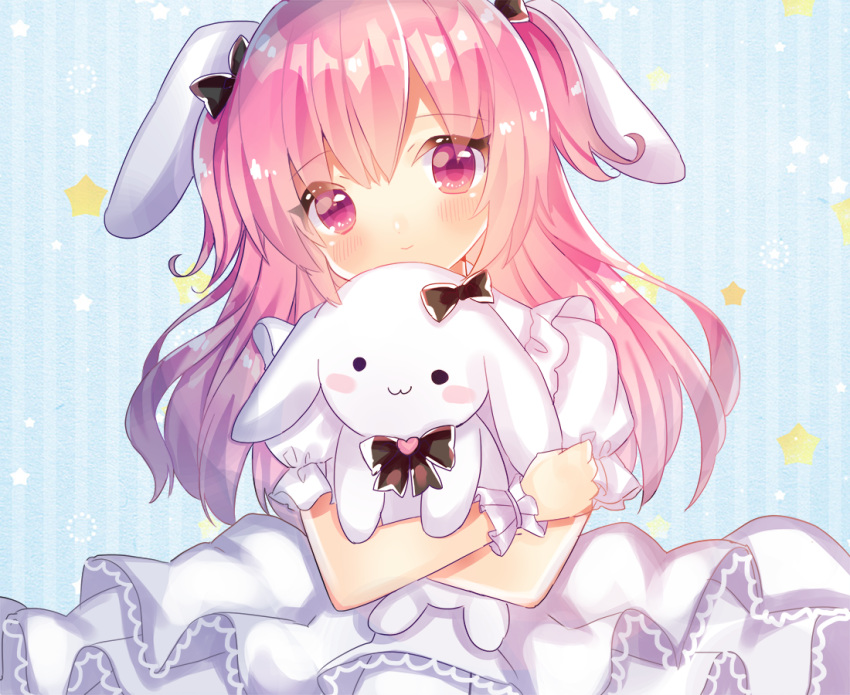 animal_ears bangs black_bow blush bow bunny_ears closed_mouth commentary dress eyebrows_visible_through_hair hair_between_eyes hair_bow heart kohaku_muro layered_dress long_hair looking_at_viewer object_hug original pink_eyes pink_hair pleated_dress puffy_short_sleeves puffy_sleeves short_sleeves smile solo star striped striped_background stuffed_animal stuffed_bunny stuffed_toy vertical-striped_background vertical_stripes very_long_hair white_dress wrist_cuffs