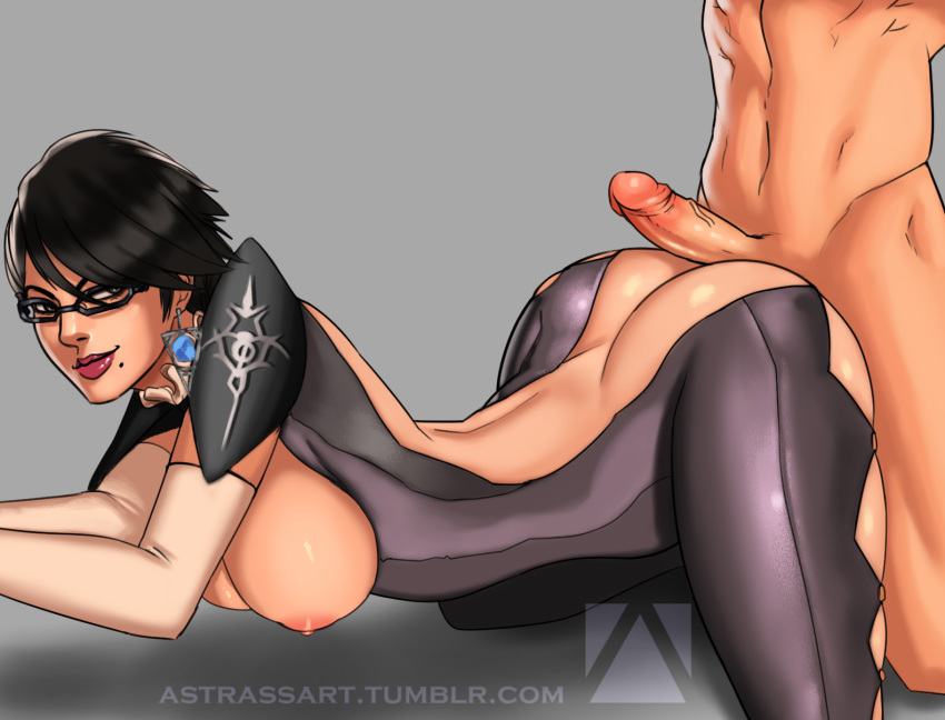 1boy 1girl adapted_costume areolae artist_name ass astrass bayonetta bayonetta_(character) bayonetta_2 black_hair blue_eyes breasts butt_crack buttjob clothed_female_nude_male earrings glasses hanging_breasts jewelry mole mole_under_mouth nipples nude penis short_hair watermark web_address