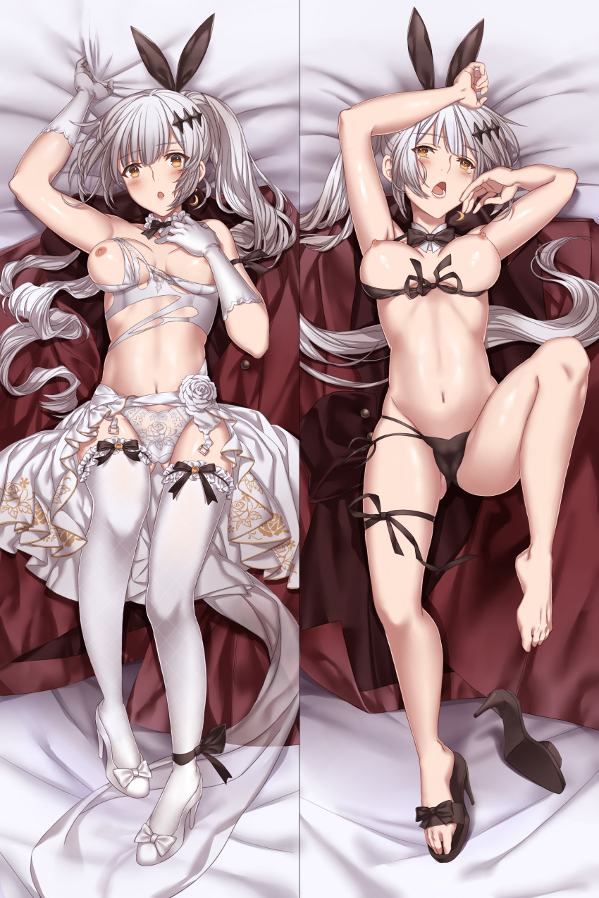 1girl :o absurdres ankle_ribbon areolae arm_up armpits ass bangs bare_shoulders bed_sheet bikini bikini_pull black_bikini black_footwear black_ribbon blush bow breasts brown_eyes cleavage closed_mouth coat coat_removed crescent crescent_earrings dakimakura damaged detached_collar dress earrings eyebrows_visible_through_hair five-seven_(girls_frontline) flower front-tie_top garter_straps girls_frontline gloves gluteal_fold groin hair_ornament hair_ribbon heart heart-shaped_pupils high_heels highres hzfz5427 jewelry large_breasts long_hair looking_at_viewer lying military military_uniform multiple_views navel nipples on_back open_mouth ponytail pumps ribbon rose shiny shiny_skin shoe_removed shoes side-tie_bikini sidelocks silver_hair single_shoe smile solo stomach swimsuit symbol-shaped_pupils tearing_up thigh_ribbon thighhighs thighs torn_clothes torn_dress uniform very_long_hair wedding_dress white_dress white_flower white_footwear white_gloves white_legwear white_rose