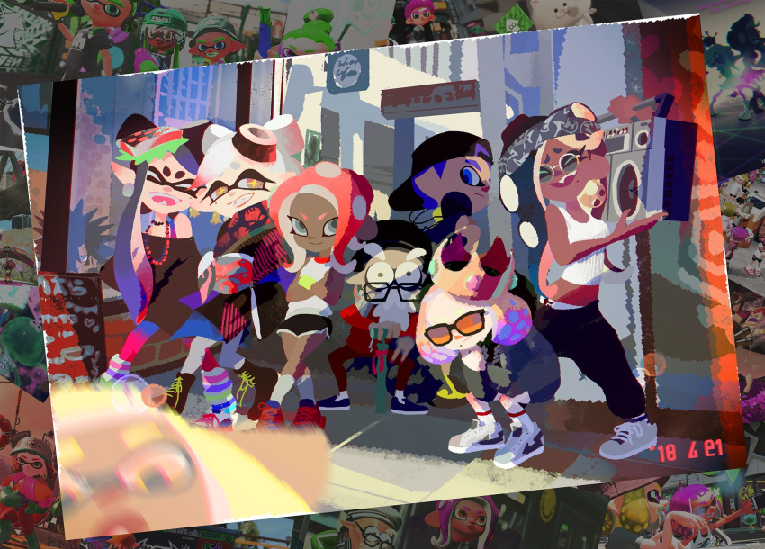 3boys 6+girls aori_(splatoon) beard boombox casual commander_atarime commentary_request dark_skin daunii_(splatoon) everyone facial_hair fangs highres hime_(splatoon) hood hoodie hotaru_(splatoon) iida_(splatoon) inkling inoue_seita looking_at_viewer midriff motion_blur multiple_boys multiple_girls navel octoling official_art pointy_ears short_shorts shorts smile splatoon splatoon_1 splatoon_2 splatoon_2:_octo_expansion squatting squidbeak_splatoon sunglasses tentacle_hair walking_stick