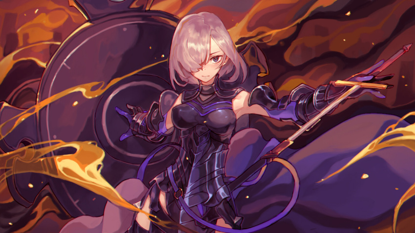 armor armored_leotard armpits bangs belt black_armor black_gloves black_legwear blush breastplate breasts breasts_apart closed_mouth cowboy_shot elbow_gloves fate/grand_order fate_(series) faulds gloves gorget hair_over_one_eye hips holding holding_shield holding_sword holding_weapon hong_da impossible_clothes impossible_leotard leotard loose_belt mash_kyrielight medium_breasts multicolored multicolored_clothes multicolored_gloves o-ring outstretched_arms purple_belt purple_eyes purple_gloves serious sheath shield short_hair shoulder_armor silver_hair solo spaulders spread_arms standing sword thighhighs unsheathing vambraces weapon
