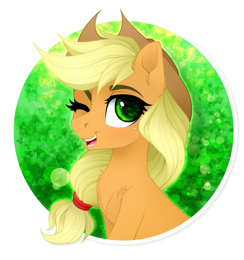 2018 alpha_channel applejack_(mlp) blonde_hair bust_portrait chest_tuft cowboy_hat cute earth_pony equine eyebrows eyelashes female feral freckles friendship_is_magic fur green_background green_eyes hair hair_tie hat hi_res horse looking_at_viewer mammal my_little_pony nude one_eye_closed open_mouth open_smile pony portrait signature simple_background smile solo teeth tongue tuft vird-gi wink