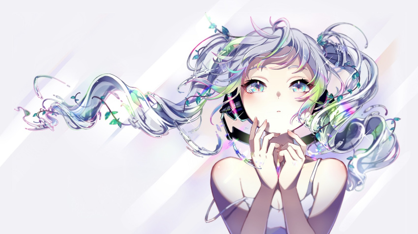 1girl alternate_costume bare_shoulders behind-the-head_headphones blue_hair blush camisole closed_mouth commentary_request glint hair_ornament hands_up hatsune_miku headphones leaf_hair_ornament liquid_hair long_hair looking_away looking_up messy_hair multicolored multicolored_eyes nou own_hands_together partial_commentary solo strap_slip twintails vocaloid