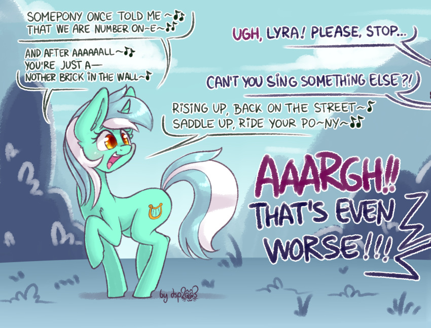 ! 2018 ?! amber_eyes annoyed blush cloud cute cutie_mark dsp2003 duo english_text equine eyelashes female feral friendship_is_magic grass green_hair hair hi_res hooves horn inner_ear_fluff looking_back lyra_heartstrings_(mlp) mammal mountain multicolored_hair music musical_note my_little_pony nude open_mouth open_smile outside portrait raised_leg side_view signature silly singing sky smile solo_focus speech_bubble teeth text tongue two_tone_hair unicorn unseen_character walking white_hair yelling