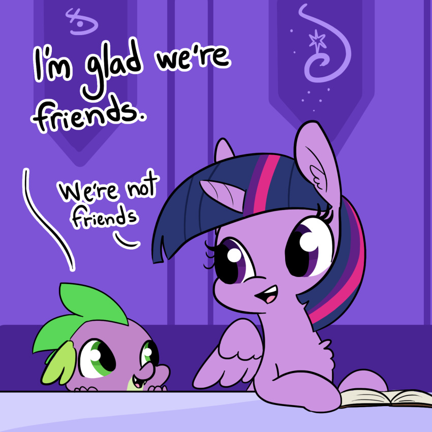 2018 book dialogue dragon duo english_text equine female feral friendship_is_magic hair horn mammal multicolored_hair my_little_pony scalie spike_(mlp) text tjpones twilight_sparkle_(mlp) winged_unicorn wings