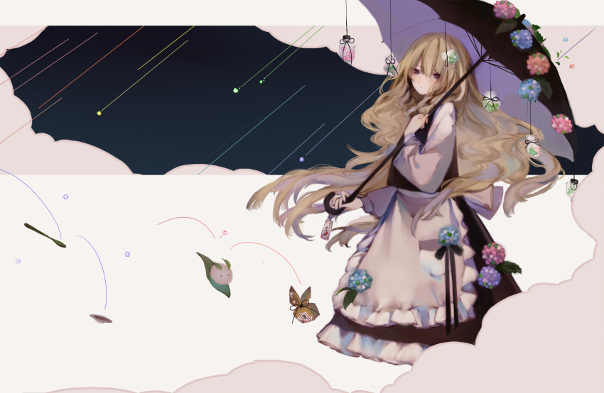 black_ribbon blonde_hair bowl candy cloud commentary_request creature dress expressionless flower food grey_eyes hair_ornament highres hydrangea kirisame_marisa konpeitou leaf long_hair looking_at_viewer package parasol ribbon shooting_star spoon string touhou umbrella zhixie_jiaobu