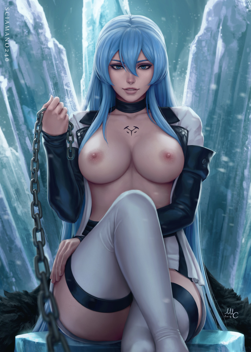 1girl 2018 akame_ga_kill! areolae artist_name bangs black_choker blue_eyes blue_hair blurry boots breasts chains chest_tattoo choker collarbone cross depth_of_field esdeath fingernails hair_between_eyes hand_on_own_thigh highres holding ice legs_crossed lips long_hair long_sleeves looking_at_viewer medium_breasts military military_uniform miniskirt mirco_cabbia nipples no_bra nose open_clothes open_shirt parted_lips pov_eye_contact shirt sidelocks signature sitting skirt sleeves_past_wrists smile solo tattoo thigh_boots thighhighs uniform very_long_hair white_footwear white_shirt zettai_ryouiki