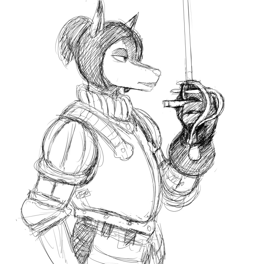 armor black_and_white bridgette_o'shane canine clothed clothing dog feline female fully_clothed hair hladilnik lynx lynxuki mammal medieval melee_weapon monochrome rapier saluki sword weapon