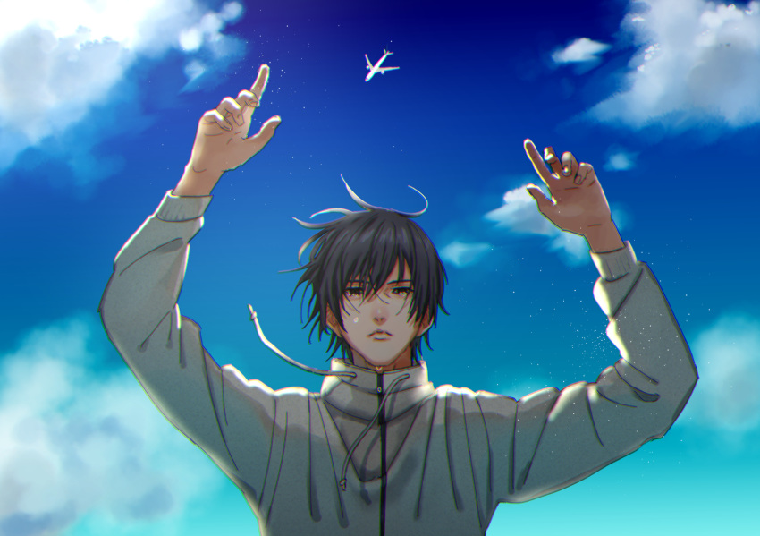 1boy aircraft airplane arms_up black_hair blue_sky cloud day hair_between_eyes highres inuyashiki long_sleeves looking_at_viewer male_focus outdoors satou6565 shishigami_hiro sky solo standing