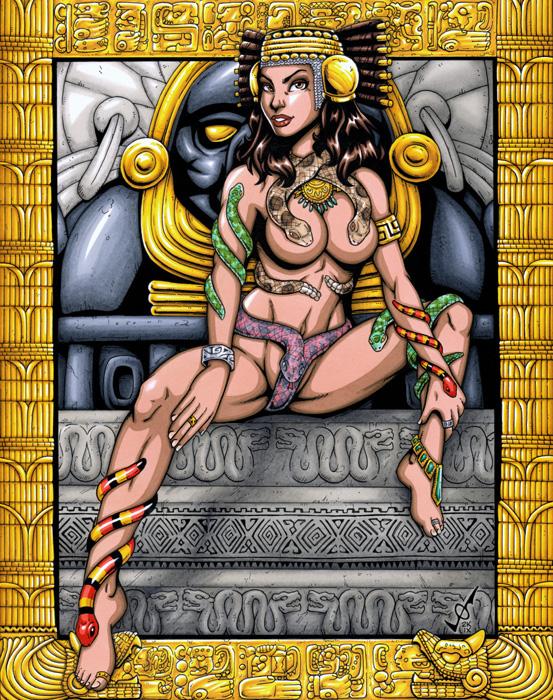 Aztec warrior woman fantasy art
